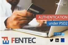 Authentication under PSD2: man with a credit card and a computer paying online